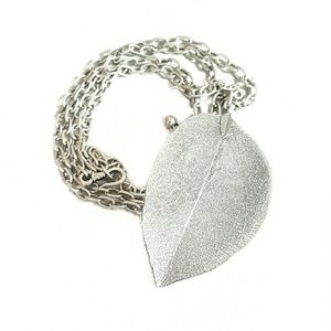 Lovely Long Silver Dipped Leaf Charm Necklace